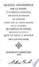 Oracion apologetica por la Espana y su merito literario (etc.)