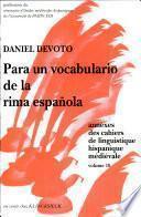 Para un vocabulario de la rima española